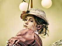 Señora retra en sombrero Fotos de archivo