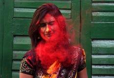 Señora roja Imagenes de archivo