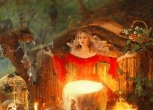 Señora rubia bonita sobre una caldera mágica grande con el humo, ninfa del bosque en vestido rojo brillante largo con los cociner foto de archivo