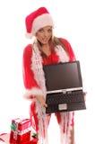 Señora Santa Laptop fotografía de archivo libre de regalías