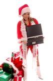 Señora Santa Laptop foto de archivo libre de regalías