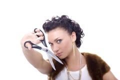 Señora With Scissors Imagen de archivo libre de regalías