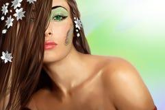 Señora sensual con los ojos verdes Imágenes de archivo libres de regalías