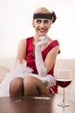 Señora sensual en la cocaína roja el oler (de imitación) Fotos de archivo libres de regalías