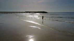 Señora Silhouette Goes a lo largo del borde del mar bajo luz del sol