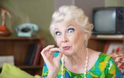 Señora Smoking Pot Imagen de archivo libre de regalías