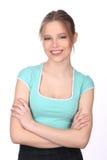 Señora sonriente con la presentación del maquillaje Cierre para arriba Fondo blanco Foto de archivo libre de regalías