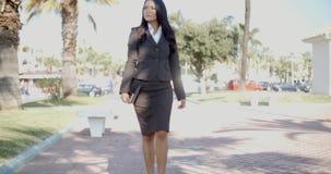 Señora In A Suit Walking abajo de la calle metrajes