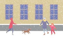 Señora Walking Dog en el correo que da un paseo a lo largo de la calle libre illustration