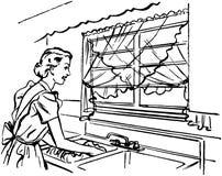 Señora Washing Dishes Fotografía de archivo