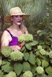 Señora y Hydrangeas verdes Fotos de archivo libres de regalías