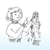 Señora y pescados Foto de archivo