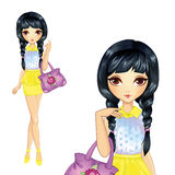 Señora In Yellow Skirt va a hacer compras Imagenes de archivo