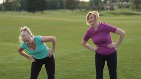 Señoras de la aptitud que hacen estirar ejercicio al aire libre almacen de metraje de vídeo