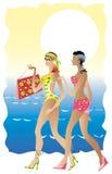 Señoras de la playa stock de ilustración