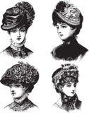 Señoras del vintage con el ejemplo del vector de los sombreros ilustración del vector