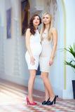 Señoras elegantes hermosas en vestidos modernos Imagen de archivo