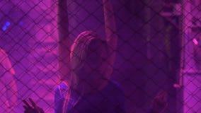 Señoras hermosas que bailan temptingly detrás de la cerca de la cadena del metal en el club nocturno almacen de metraje de vídeo