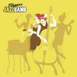 Señoras Jazz Orchestra Cuatro muchachas de la aleta que juegan música ilustración del vector