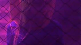 Señoras jovenes activas que se divierten y que bailan detrás de la cerca de la malla de alambre en club nocturno metrajes