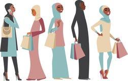 Señoras musulmanes con los panieres stock de ilustración