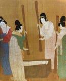 4 señoras que preparan la seda, por Huizong, pintura de seda china Imágenes de archivo libres de regalías