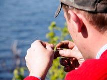 Señuelo mordido de la pesca Fotos de archivo libres de regalías