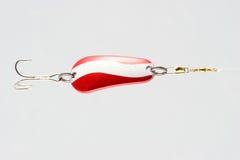 Señuelo rojo y blanco de la pesca Imagen de archivo