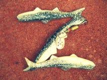 Señuelos de la pesca de la letra Z del alfabeto Imagen de archivo libre de regalías