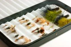 Señuelos de la trucha en rectángulo de la mosca Fotografía de archivo libre de regalías