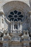 Se圆花窗细节做波尔图大教堂,葡萄牙 图库摄影