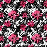 Se à la mode rose expressif peint à la main floral d'encre et d'aquarelle illustration stock
