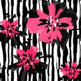 Se à la mode rose expressif peint à la main floral d'encre et d'aquarelle illustration libre de droits