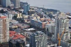Se över Seattle från däck för utrymmevisarobservation, Seattle, Washington Arkivbild
