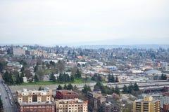 Se över Seattle från Smith Tower observationsdäck, Seattle, Washington Arkivfoto