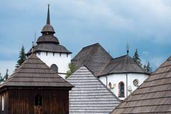 Se över tak av den gamla byn arkivbilder
