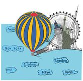 Se abre el globo abre la cremallera, las vistas de diversas ciudades Concepto de recorrido Ilustración del vector Foto de archivo libre de regalías
