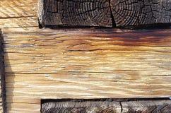 Se av antikt trä av ljus färg i en trävägg Royaltyfria Foton