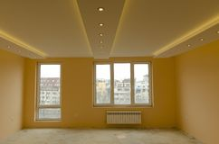 Se av att renovera nytt målat rum Royaltyfri Foto