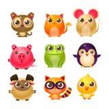 Süße Baby-Tiere im Girly Design Stockbilder