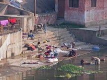 Se baignant et lavant au ghat local chez Khajuraho, Inde Photographie stock