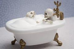 Se baigner avec le chien squelettique Photo stock