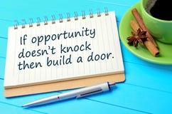 Se a batida do ` t do doesn da oportunidade constrói então uma porta escrita no bloco de notas imagem de stock royalty free