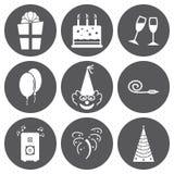 SE blanco de los iconos del cumpleaños del vector Fotos de archivo libres de regalías