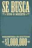 Se busca体内o muerto,被要的死或活海报西班牙语发短信 免版税库存图片