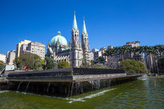 Se Cathedral in downtown Sao Paulo. Brazil Royalty Free Stock Image