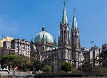 Se Cathedral Sao Paulo Brazil. The twin tower with green copper roofs Se Cathedral in downtown Sao Paulo, Brazil Stock Images