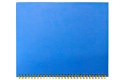 Se cierra para arriba de un cuaderno azul en blanco Fotos de archivo
