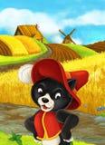Se colorea maravillosamente escena con el personaje de dibujos animados - viajero del gato permanente y de mirada a la audiencia  Imagen de archivo libre de regalías