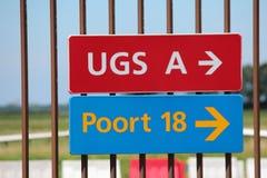 Se connecte une barrière à l'aéroport de Rotterdam la Haye photographie stock